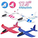 4 Pack Airplane Toy, 17.5' Large Throwing Foam Plane, Dual Flight Mode, Aeroplane Gliders, Flying Aircraft, Gifts for Kids, 3 4 5 6 7 Year Old Boy,Outdoor Sport Game Toys, Birthday Party Favors