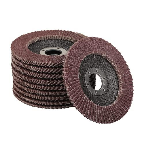 HONMOK 10pcs Disco abrasivo de láminas 115 mm Disco de láminas de lija Rodillo de Láminas disco de lija para amoladora óxido de aluminio marrón lijado molienda corte limpieza pulir hierro madera acero