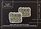 Good Vibes Iron on Patch for Jeans Jackets Hats Backpacks DIY Clothing Accessories Cool Patches Easy Iron on Unisex Men Women Girls Kids