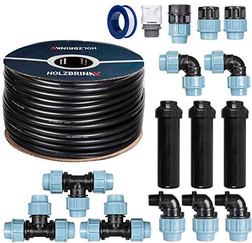 HOLZBRINK Start Set Bewässerungssystem Rasenbewässerung inkl. 20 m LDPE Verlegerohr 25 mm, 3X Versenkregner, HTB-11-3-20