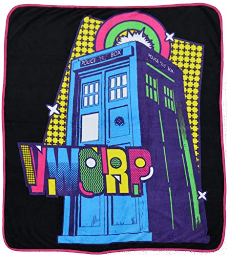 Doctor Who Blanket Tardis Pop Art Micro Raschel Afghan Throw Blanket 50'x 60'
