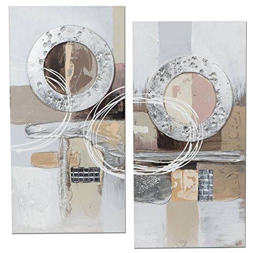 formano 2er Set Wandbilder, Wanddeko Kreise ANTIK je 30x60cm Silber Creme