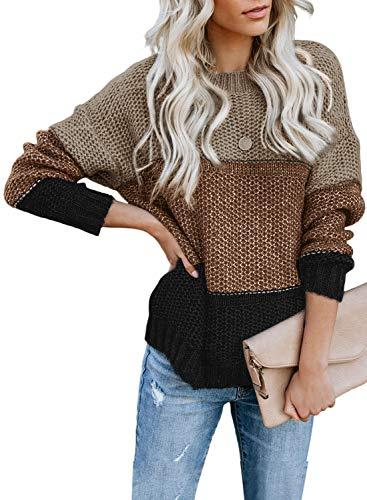 FIYOTE Damen Strickpullover Farbblock Pullover Casual Winter Sweater Sweatshirt Winter Bluse Streifenpullover 4 Farbe S/M/L/XL/XXL, 1-brown, Small(EU34-36)