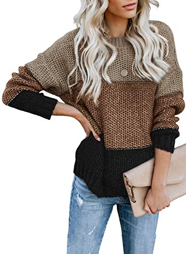 FIYOTE Damen Strickpullover Farbblock Pullover Casual Winter Sweater Sweatshirt Winter Bluse Streifenpullover 4 Farbe S/M/L/XL/XXL, 1-brown, Large(EU42-EU44)