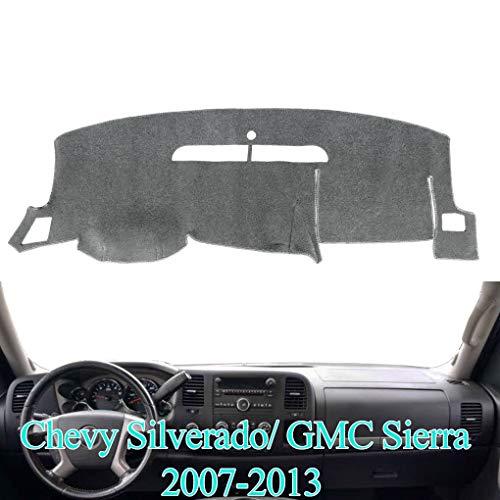 AKMOTOR Dash Cover Mat Custom Fit for Chevy Chevrolet Silverado 1500 LT/WT 2007-2013 2500 HD / 3500 HD 2007-2013, GMC Sierra 2008-2013 .Dashboard Cover Pad Carpet (07-13 Gray) Y74