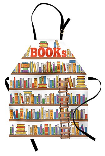 Ambesonne Modern Apron, Library Bookshelf with a Ladder School Education Campus Life Caricature Illustration, Unisex Kitchen Bib with Adjustable Neck for Cooking Gardening, Adult Size, White Brown