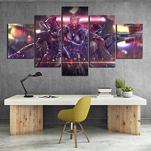 5 Panels Cartoon Bilder Ow Artowrk Shooting Game Overwatch Poster Leinwand Kunst Wandgemälde für Wohnkultur(size 1)
