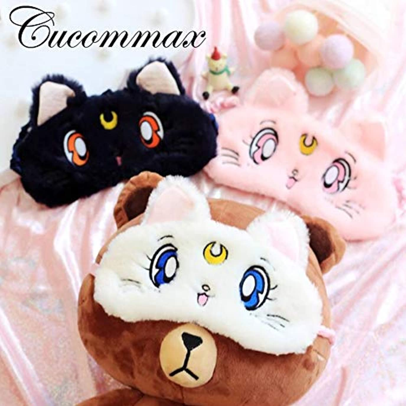 離す独占コード注Cucommax 1ピースかわいい猫リラックスアイスまたはホット圧縮アイシェード睡眠マスクブラックマスク包帯用睡眠 - MSK 58