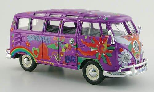 VW T 1 Samba Bus, Hippie, lila , mit Dekor, Modellauto, Fertigmodell, Maisto 1:24