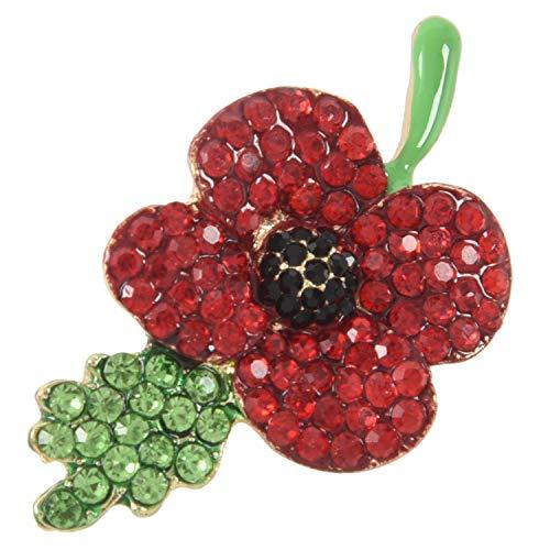 Cavis Poppy Brooch Symbolic Crystal Diamante Poppy Pin Badge (3#)