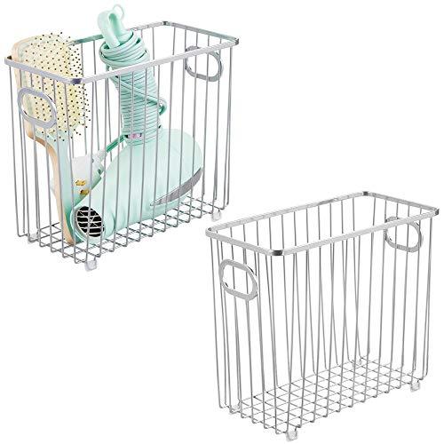 mDesign Juego de 2 cestas de almacenaje con asas integradas – Caja organizadora con atractivo diseño en malla de alambre de metal – Ideal como organizador de baño para cosméticos – plateado