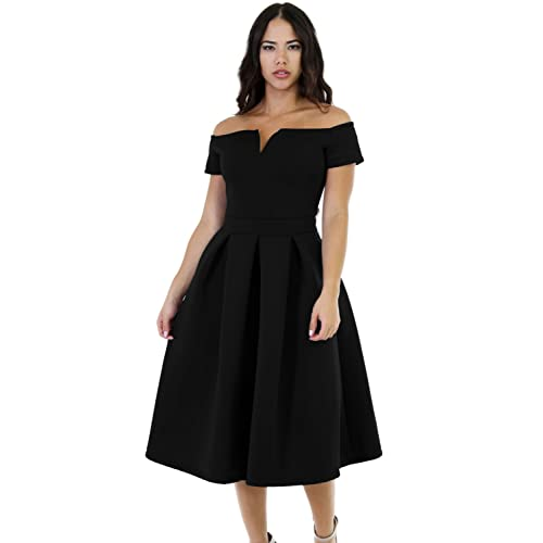 6f4eaceaeb Lalagen Women s Vintage 1950s Party Cocktail Wedding Swing Midi Dress