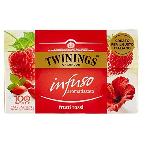 Twinings Infusi - Frutti Rossi - Infuso 100% Naturale dal Colore Rubino e dal Profumo Inebriante di Fragola, Lampone, Ibisco Rosso e Bacche di Rosa Canina - Gusto Italiano e Dissetante (20 Bustine)