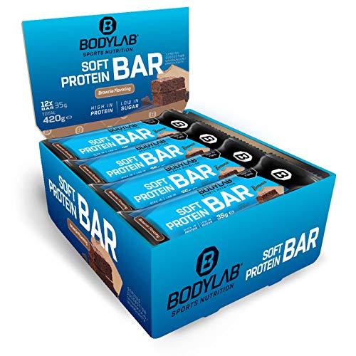 Bodylab24 Soft Protein Bar 12 x 35g / Kleiner softer Riegel mit einer Extraportion Protein / High Protein Low Sugar / Eiweißriegel mit wenig Zucker / Schoko-Brownie