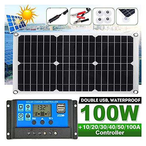 ZhuFengshop Kit de Panel Solar 100W Completo 1 2V / 5V DC USB Puerto con células solares de 60a Controlador Solar para yate de automóviles. RV Cargador de batería (Color : with 50A Controllter)