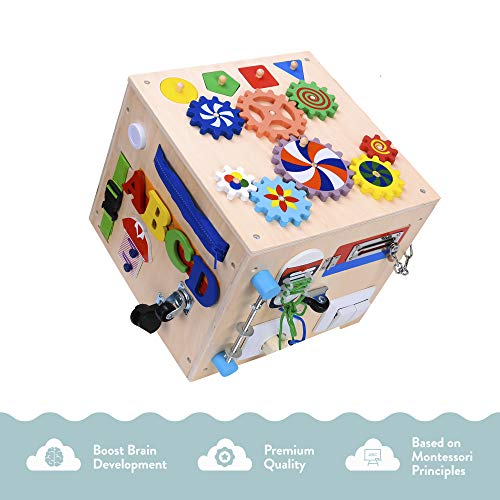 Primo Supply 5X Sensory Board Montessori Busy Box Enrichment Educational Learning Toy l Fun Engaging Cube for Toddlers Play with Zippers Buttons Wheels Bells Lock Flaps Rotor Gears, Buckles