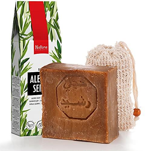 Savon d'Alep 60% Huile d'Olive 40% Huile de Baies de Laurier(environ 200gr)+1x Sacs de Savon Sisal Savon pour les Cheveux, Savon de Rasage