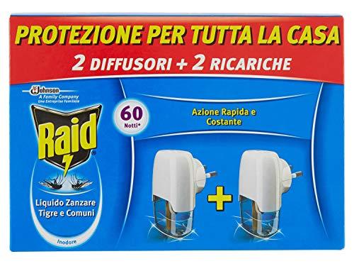 Raid Elektrischer Mückenschutz, Packung enthält 2 Diffusoren + 2 Nachfüllpackungen, Dauer 60 Nächte