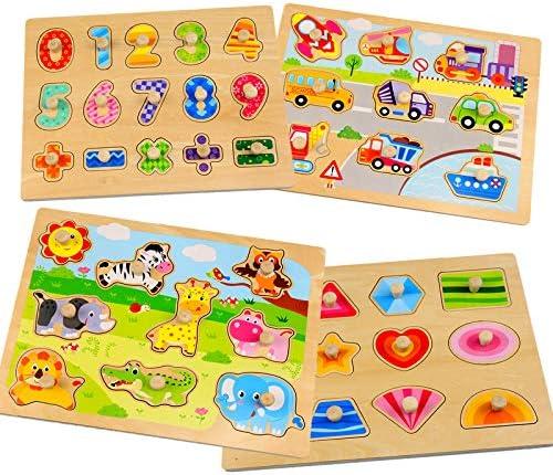 Wooden Toddler Peg Puzzles Set WOOD CITY Animal Vehicle Number Shape Themed Laser Cut Puzzle product image