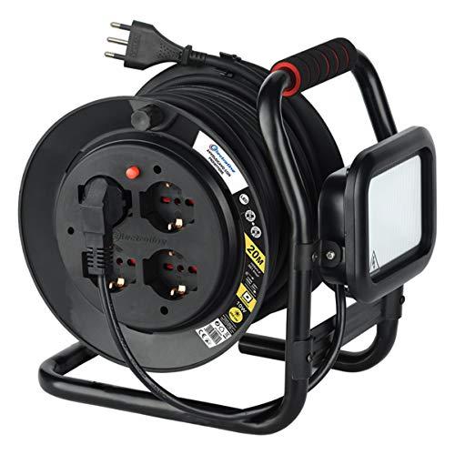 Electraline 49035 Avvolgicavo uso professionale con prolunga e con Proiettore LED 10W, 4 prese 10/16A, con tamburo fisso, sezione cavo 3G1,5 lunghezza 20m