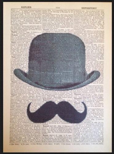 Parksmoonprints Affiche de page de dictionnaire vintage Motif moustache