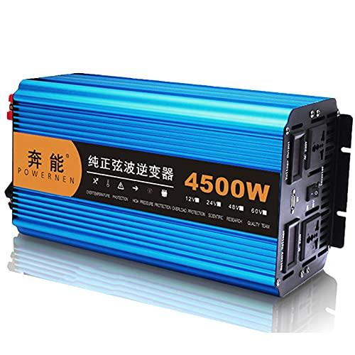 Power Inverter 12 V 24 V a 220 V Onda Sinusoidale Pura Convertitore di Tensione Con 2 Prese EU e UnaA USB, Display Digitale e 2 Ventilatori Invertitore di Potenza per Auto,Barca Camper,12V-4500W