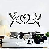Tianpengyuanshuai Calcomanía de Vinilo para Pared Paloma pájaro Matrimonio Amor corazón Pareja romántica Dormitorio Pared Pegatina salón Mural -57x28cm