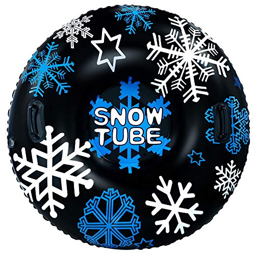 GUOOU Inflatable Snow Tube with Handles, Heavy Duty Snow Sled, Snow Tire, River Tube, Water Float, Sledding Float, Snow Rider, Snow Racer, Snowboard for Winter Outdoor Fun