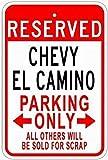 Ylens Chevy El Camino Tin Parking Sign Tin Metal Sign 12x16 Warning Notice Garage Sign