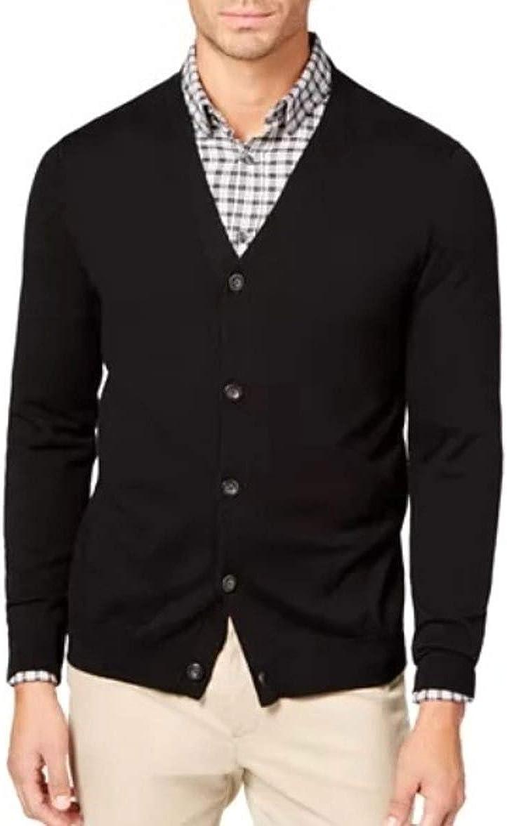 LIZ CLAIBORNE Apt 9 Classic Fit Cardigan Sweater Merino Wool Blend Big & Tall Black