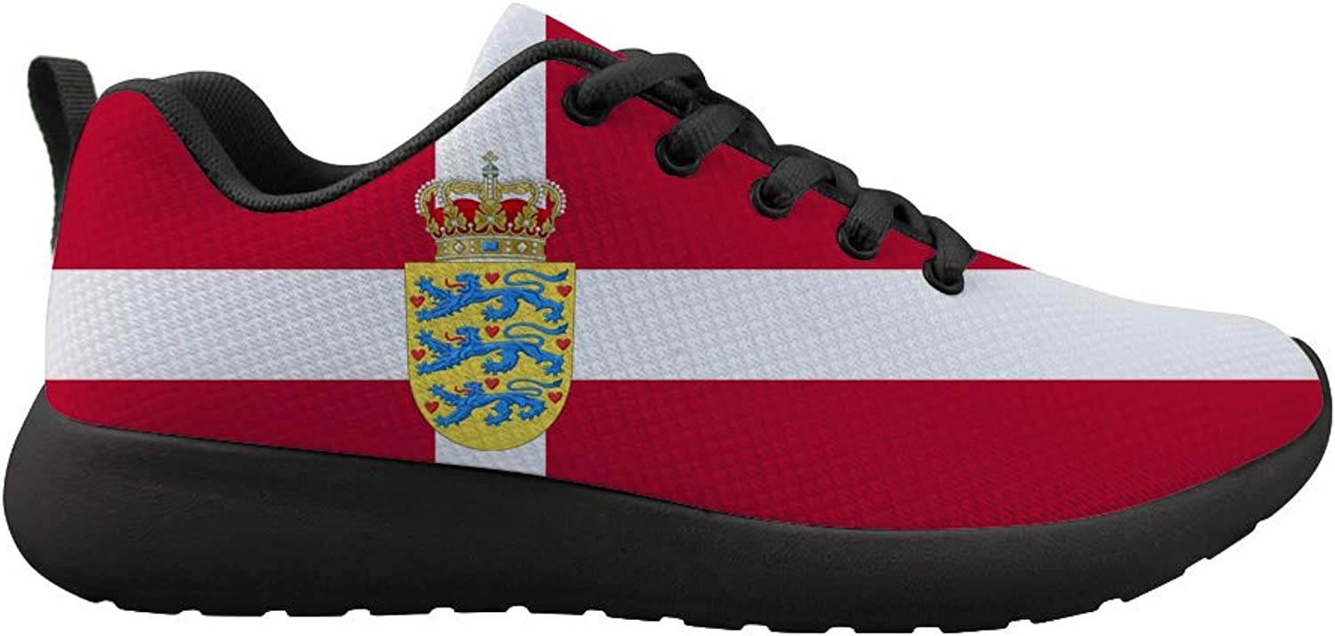 Owaheson Cushioning Sneaker Trail Running shoes Mens Womens Danish Flag National Emblem