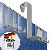 Türhaken – Edelstahl, 10er Set – Ordnung auch auf kleinstem Raum – Made in Germany Haken ohne Bohren, einzeln verwendbar – Kleiderhaken Porta, klein und stark