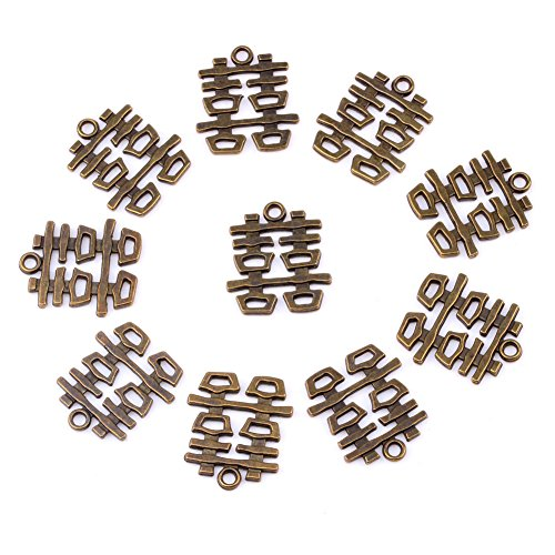20 Pieces Double Happiness Magic Powers Charms Findings for Jewelry Pendants Necklace Making 24mm X 21mm