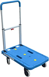 Aluminum Alloy Small Cart, Universal Wheel Fold Trolley Trolley Flatbed Truck Size 68 * 41 * 92CM (Color : Blue)