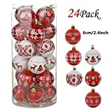 TRIEtree 24ct 2.4' Christmas Ball Ornaments Shatterproof Christmas Tree Decorations Balls Delicate Painting Glittering Decorative Hanging Christmas Ornaments Baubles Set (Red-White)