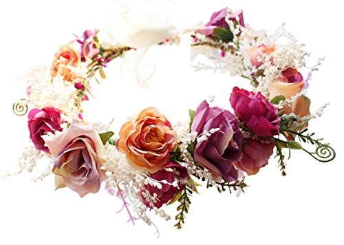 Rose Flower Crown Boho Flower Headband Hair Wreath Floral Headpiece Halo with Ribbon Wedding Party Festival Photos Pink by Vivivalue