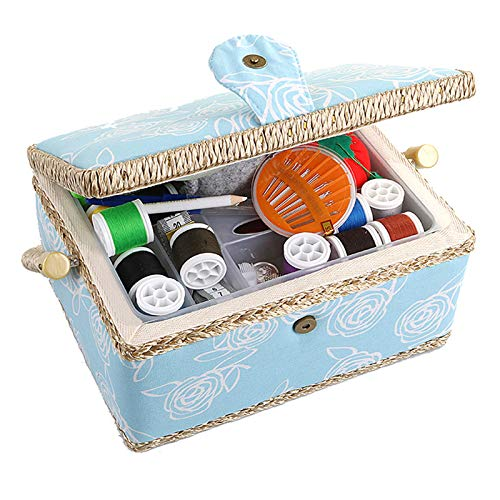 Large Sewing Box with Accessories Sewing Storage and Organizer with Complete Sewing Kit Tools - Wooden Sewing Basket with Removable Tray and Tomato Pincushion for Sewing Mending - Blue