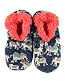 Lazy One Fuzzy Feet Slippers for Women, Cute Fleece-Lined House Slippers, Elephants, Non-Skid