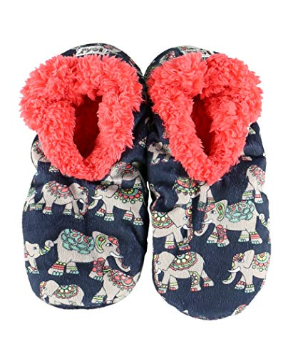 Lazy One Fuzzy Feet Slippers for Women, Elephants, Non-Skid