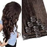 TESS Clip in Extensions Echthaar Haarteile Haarverlängerung Standard Weft Grad 7A Lang Glatt guenstig Remy Human Hair 8 Tressen 18 Clips 55cm-110g(#2 Dunkelbraun)