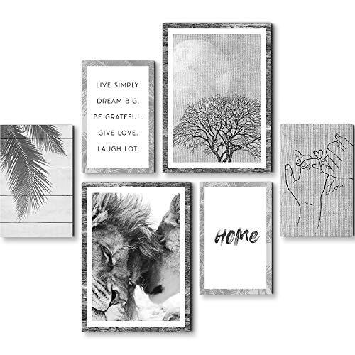 Stilvolles Set mit passenden Bilder - KEIN RAHMEN BENÖTIGT - Löwen Liebe - Wohnzimmer Büro - Zitate - N018563c