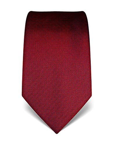 Vincenzo Boretti Herren Krawatte reine Seide strukturiert edel Männer-Design zum Hemd mit Anzug für Business Hochzeit 8 cm schmal/breit rot