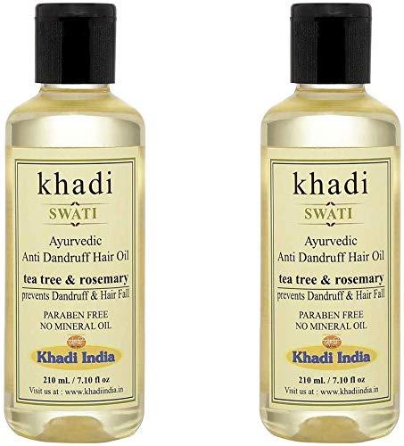 Glamorous Hub Khadi Swati Aceite para el cabello anticaspa a base de hierbas con árbol de té y romero, paquete de 2 (210 ml cada uno) (el embalaje puede variar)