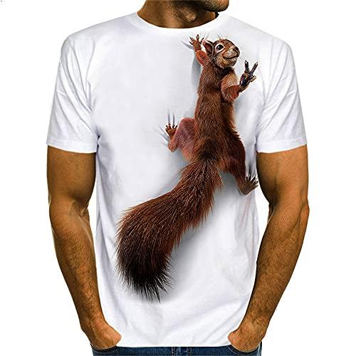 Camiseta Hombre Verano Clásica Moda Cuello Redondo Regular Fit Hombre Manga Corta Moderna Tendencia Único Ardilla Estampado Hombre Camiseta Diario Casual All-Match Hombre Tops