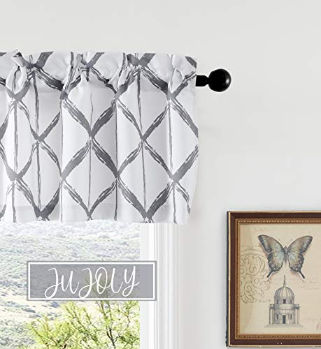 JUJOLY Paintbrush Geometric Triangle Trellis Pattern Blackout Window Curtain Valance for Living Room Thermal Insulated Kitchen Valances for Windows 52