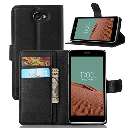 Ycloud Tasche für LG Bello II/Bello 2 Hülle, PU Ledertasche Flip Cover Wallet Hülle Handyhülle mit Stand Function Credit Card Slots Bookstyle Purse Design schwarz