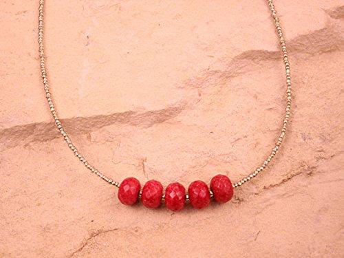 World Wide Gems Collar de plata de ley 925 para regalo conmemorativo de plata de ley 2-8 mm, diseño de jaspe rojo Rondelle, facetado 17 pulgadas para hombres, mujeres, gf, bf y adulto.