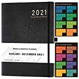 2021 Planner - Weekly/Monthly Planner, 8' x 11', Soft Leather Cover with Thick Paper, Back Pocket with Notes Pages - Black