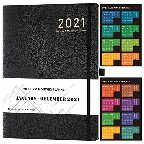 """2021 Planner - Weekly/Monthly Planner, 8"""" x 11"""", Soft Leather Cover with Stickers, Thick Paper, Back Pocket with Notes Pages - Black"""
