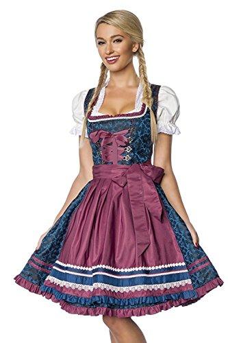 Luxus Designer Dirndl mit Schurze Kleid Dirndkleid Oktoberfest Tracht Trachtenkleid Spitze Brokat Paspelierung Rüschen Borte Blau Dunkelrot...